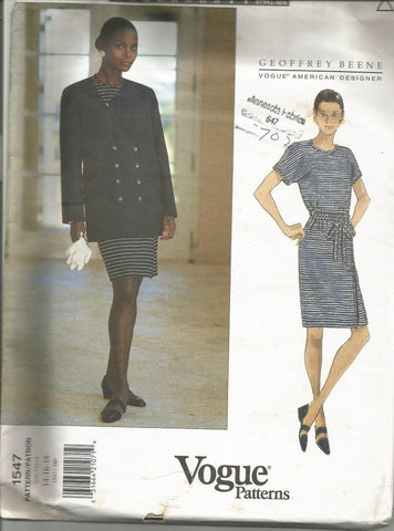1990s Mock Wrap Dress & Double Breasted Jacket Geoffrey Beene Vogue 1547 UNCUT FF Bust 36/38/40