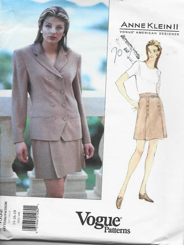 1990s ANNE KLEIN Jacket & Skirt Vogue 1552 UNCUT FF Sizes 14 16 18 Bust 36 38 40