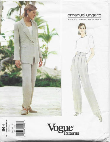 1990s Ungaro Jacket with Shaped Hemline & Pants Vogue 1564 UNCUT FF Sizes 14-16-18