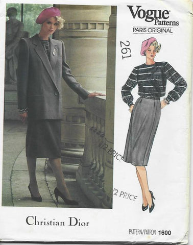 1980s Christian Dior Slim Skirt Jacket & Long Sleeve Blouse Vogue 1600 UNCUT FF Size 14 Bust 36