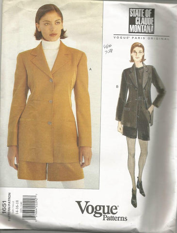 1990s Women's Shorts and Lined Jacket Claude Montana Vogue 1651 UNCUT FF Plus Size Bust 36/38/40