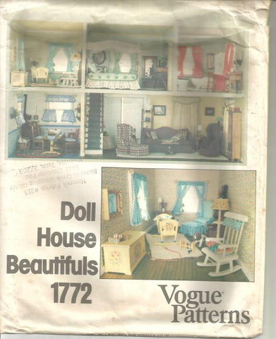 1970s Doll House Furniture & Accessories Doll House Beautifuls Vogue 1772 UNCUT FF Vintage Sewing Pattern