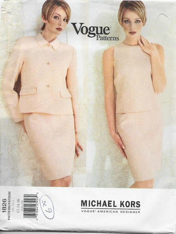 1990s Michael Kors Sleeveless Top Slim SKirt Jacket Vogue 1826 UNCUT FF Sz 12-14-16 Bust 34-36-38