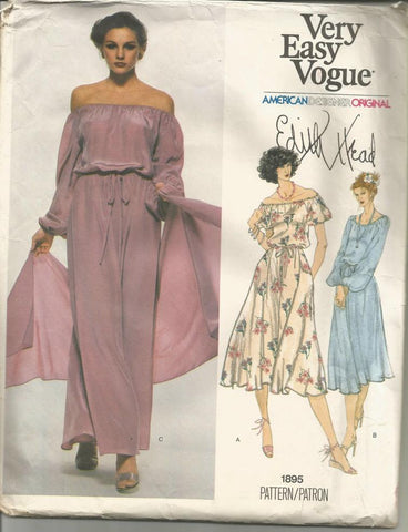 1970s Edith Head Peasant Off-Shoulder Evening or Day Dress & Stole Vogue 1895 UNCUT FF Bust 31.5 Women's Vintage Sewing Pattern