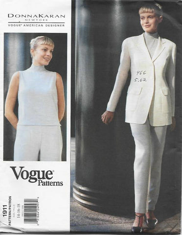 1990s Donna Karan Jacket Skinny Pants Sleeveless Top Vogue 1911 UNCUT FF Sizes 14-16-18 Bust 36-38-40