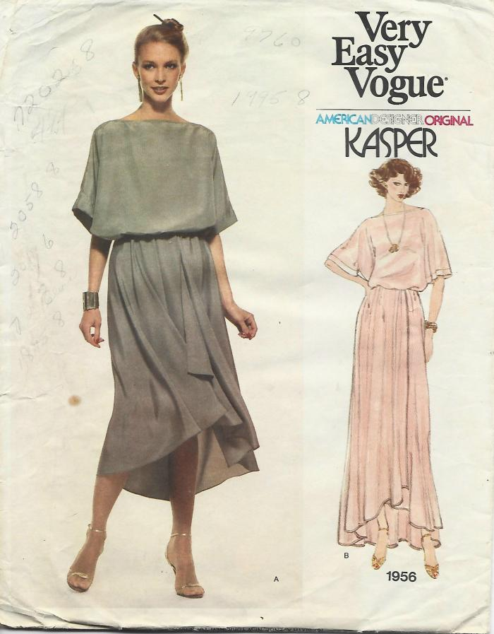 1970s Kasper Top & Skirt in 2 Lengths Easy to Sew Vogue 1956 C/C Bust 30.5