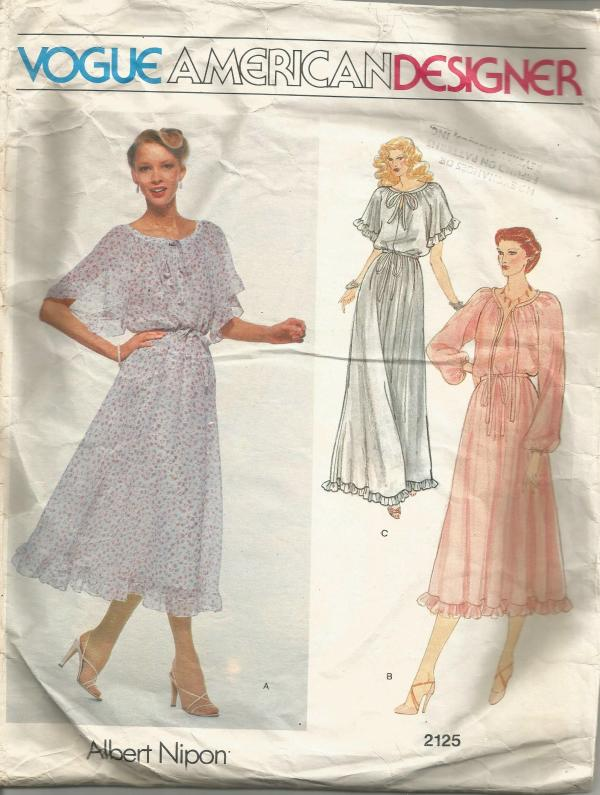1970s Pullover Dress Ruffles Sleeve Length Variations Vogue American Designer Vogue 2125 Bust 31.5 Women's Vintage Sewing Pattern
