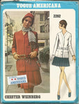 1960s Mod Misses' Suit Pleated Skirt V Neck Cardigan Jacket Chester Weinberg Designer VOgue 2262 UNCUT FF SEW-IN LABEL Bust 32.5 Women's Vintage Sewing Pattern