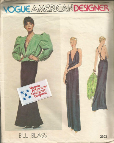 1980s Sexy Backless Plunging V Neck Bias Cut Evening Dress & Balloon Sleeve Jacket Bill Blass Vogue American Designer Vogue 2303 UNCUT FF with Label Bust 31.5 Women's Vintage Sewing Pattern