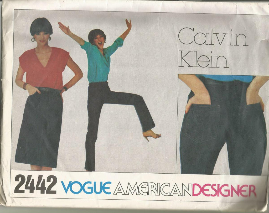 1980s Calvin Klein Tight Fitted Skinny Jeans or Straight Slim Jean Skirt Vogue American Designer Vogue 2442 UNCUT FF Size 10 Waist 27.5 Women's Vintage Sewing Pattern