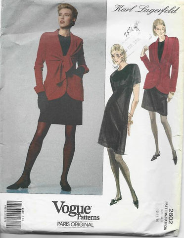 1990s Karl Lagerfeld Jacket A-Line Dress & Vest with Tie Ends Vogue 2602 Easy to Sew UNCUT FF Size 12-14-16 Women's Vintage Sewing Pattern