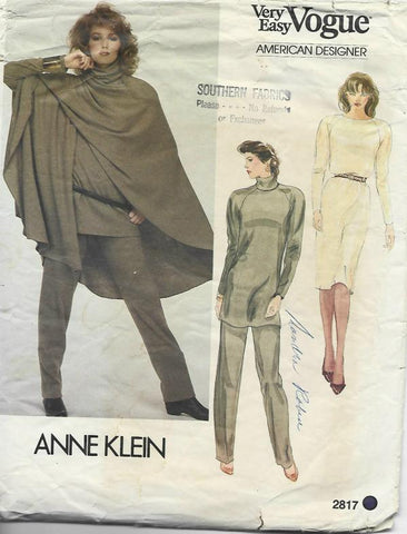 1980s Anne Klein Poncho Pants Tunic or Dress Easy to Sew Vogue 2817 UNCUT Bust 38 Women's Vintage Sewing Patterns