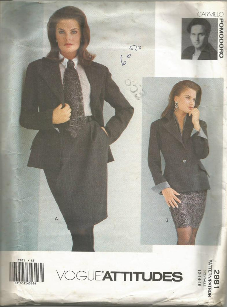1990s Skirt Suit Lined Jacket Tapered or Straight Skirt  Vogue 2981 Bust 34/36/38