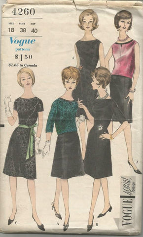 1960s A-Line Dress with Overblouse Sleeve Variations Oval Neckline Plus Size Vogue 4260 C/C Bust 38 Women's Vintage Sewing Pattern
