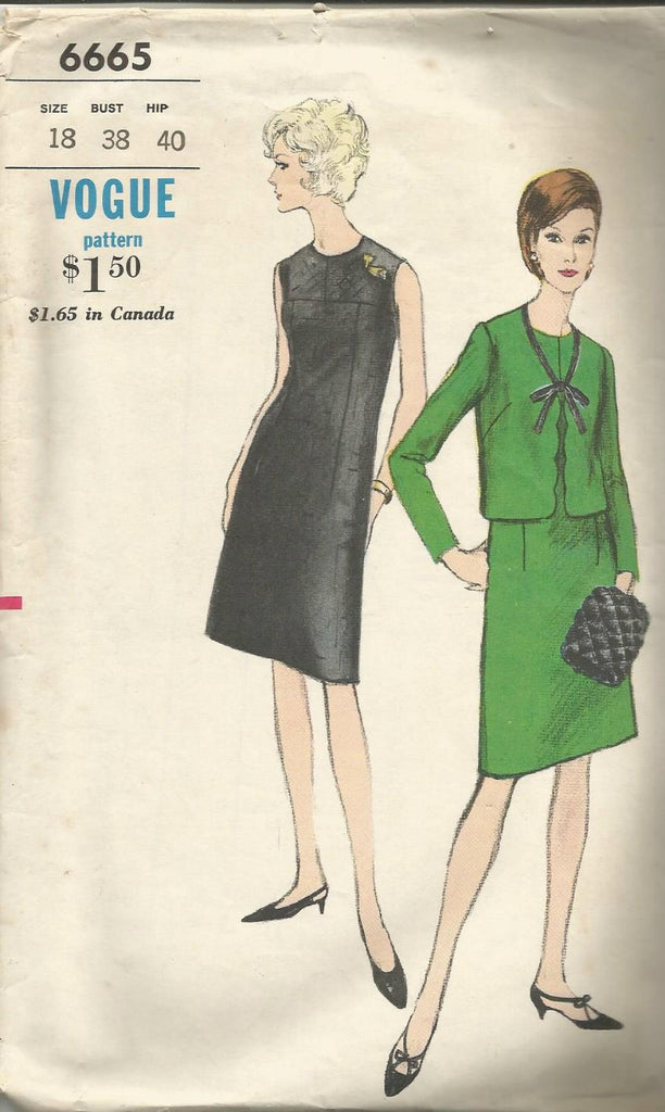 1960s Cocktail Dress Jacket & Muff Sleeveless Dress with Jewel Neck Straight Jacket Full Figure Plus Size Vogue 6665 C/C Bust 38 Women's Vintage Sewing Pattern