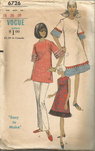 1960s A-Line Dress or Tunic Sleeveless or Elbow Length Sleeves Jewel Neckline Easy to Sew Vogue 6726 C/C Bust 36 Women's Vintage Sewing Pattern