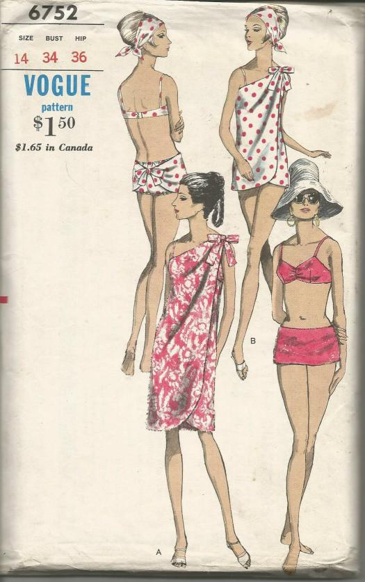1960s Two Piece Bathing Suit and Wrap around Coverup Low Slung Briefs Vogue 6752 UNCUT FF Copy #2 Bust 34 Women's Vintage Sewing Pattern