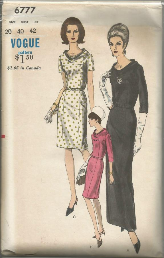 1960s Evening Cocktail Dinner Day Sheath Dress Elegant Draped Neckline Sleeve & Length Variations Plus Size Full Figure Vogue 6777 UNCUT FF Bust 40 Women's Vintage Sewing Pattern
