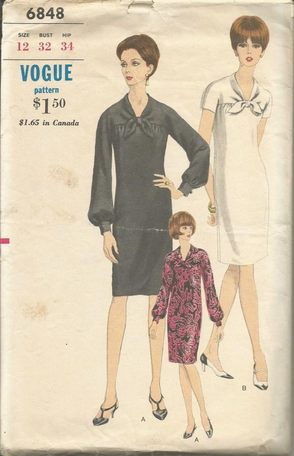1960s Slim Lined Chemise Dress V Neckline with Tie Ends Long or Short Sleeves Vogue 6848 C/C Bust 32 Women's Vintage Sewing Pattern