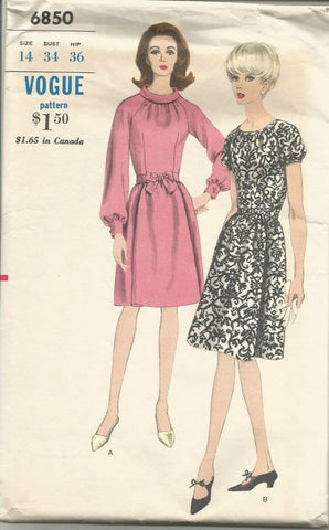 1960s Women's Dress Long or Short Sleeves Neckline Variations Flared Skirt Fitted Bodice Vogue 6850 C/C Bust 34 Women's Vintage Sewing Patterns