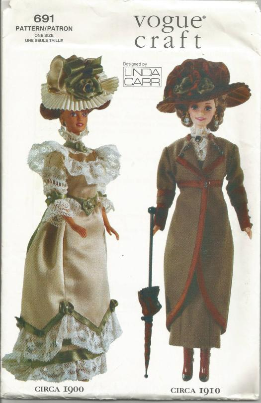 Vogue 7109/691 Linda Carr Fashion Doll Clothes Pattern Historical 1900 and 1910 Outfits 11.5 Inch Doll Clothes such as Barbie  UNCUT FF Vintage Doll Clothes Sewing Pattern