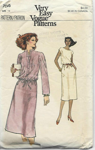 1980s Cap Sleeve Dress & Jacket with Drawstring Easy to Sew Vogue 7005 C/C  Bust 36 Women's Vintage Sewing Pattern