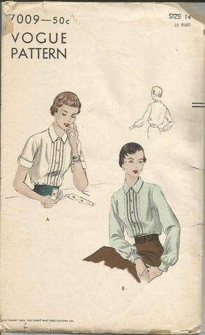 1950s Tucked Bodice Blouse Long or Short Sleeves Vogue 7009 Bust 32