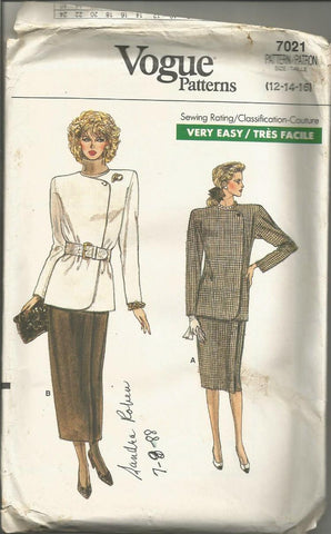 1980s Wrap Skirt & Jacket Easy to Sew Vogue 7021 FF Bust 34/36/38