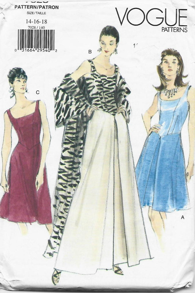 Vogue 7028 Evening/Cocktail Dress & Stole UNCUT FF Bust 36/38/40