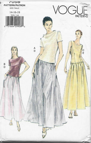 Vogue 7058 Evening Skirt & Top Easy to Sew UNCUT FF Bust 36-40