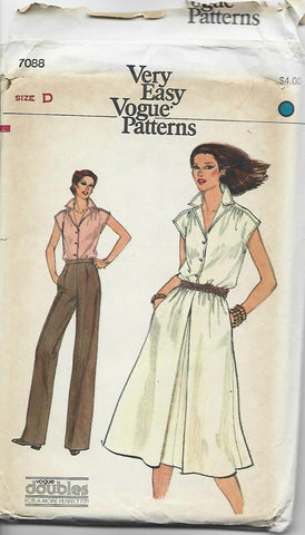 1970s Mini Wardrobe Easy to Sew Blouse Skirt Pants Vogue 7088 UNCUT FF Size 12-14 Bust 34-36 Women's Vintage Sewing Pattern