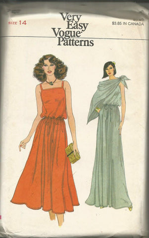 1970s Evening Cocktail Sundress Pullover Dress Easy to Sew Vogue 7107 UNCUT FF Bust 36