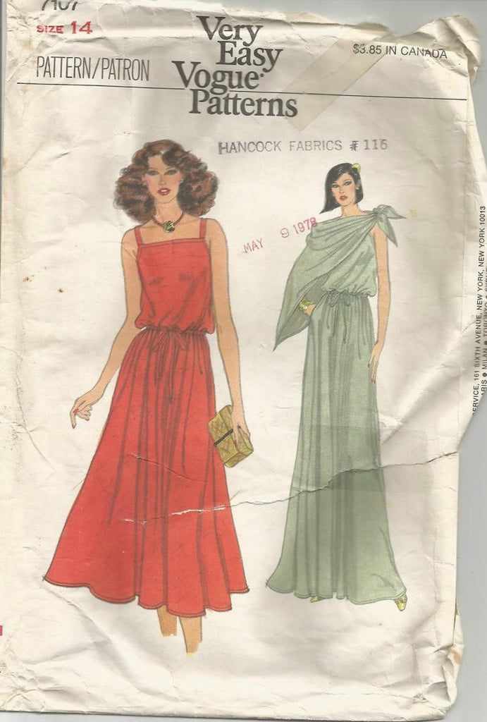 1970s Evening Cocktail Sundress Pullover Dress Square Neckline & Scarf Easy to Sew Vogue 7107 C/C Size 14 Bust 36 Women's Vintage Sewing Pattern