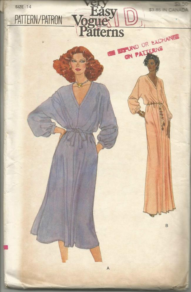 1970s Evening or Day Pullover Dress Deep V Neckline Long Sleeves Easy to Sew Vogue 7141 UNCUT FF Bust 36 Women's Vintage Sewing Pattern