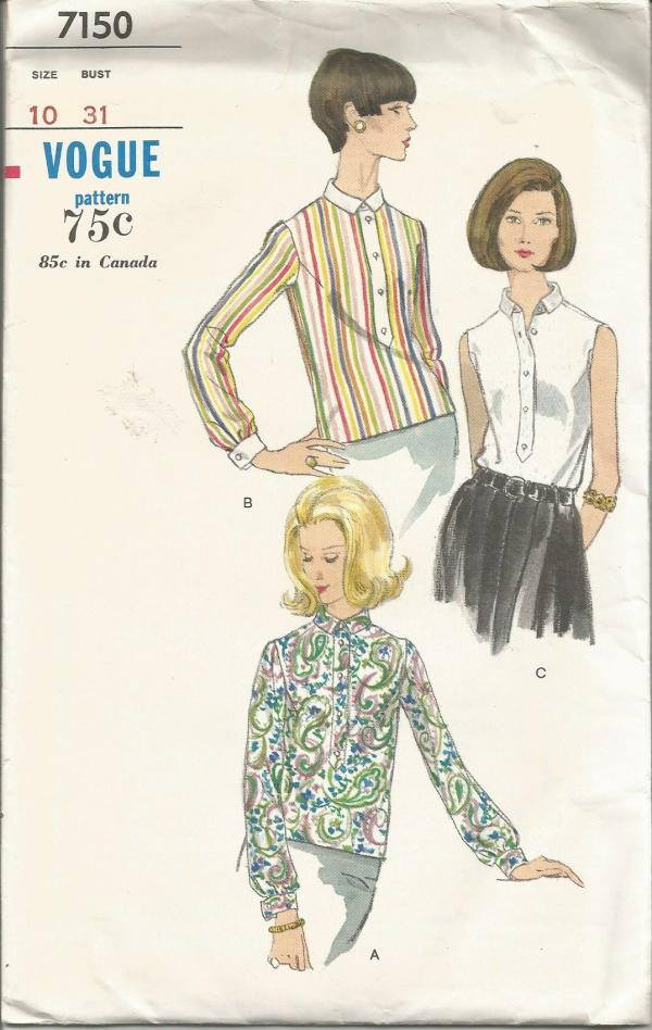 1960s Women's Blouse Overblouse Sleeveless or Long Sleeves Vogue 7150 UNCUT FF Bust 31 Women's Vintage Sewing Pattern