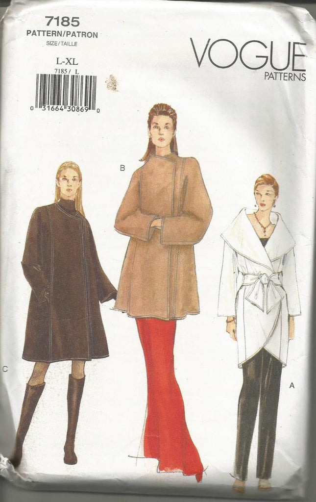 1990s Lined Coat A-Line Three Styles Easy to Sew Plus Size Vogue 7185 UNCUT FF Size L-XL Bust 36-44 Women's Vintage Sewing Pattern
