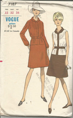 1960s Drop Waist A-Line Dress Sleeveless or Long Sleeves Vogue 7187 C/C Size 12 Bust 32 Women's Vintage Sewing Pattern