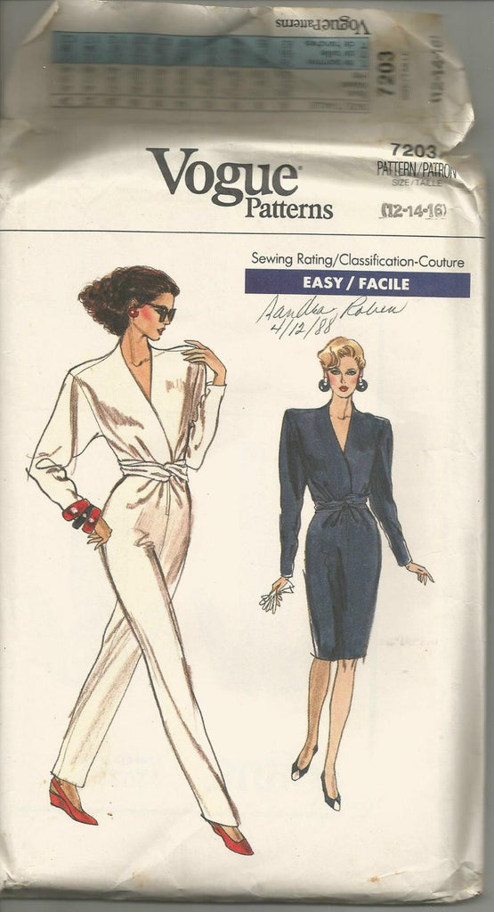 1980s V Neck Jumpsuit or Straight Dress Long SLeeves Easy to Sew Vogue 7203 UNCUT FF Sizes 12/14/16 Bust 34/36/38 Women's Vintage Sewing Pattern