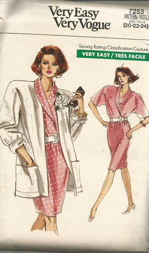 1980s Wrap Top Slim Skirt & Jacket Easy to Sew Plus Size Vogue 7253 UNCUT FF Size 20/22/24 Bust 42/44/46