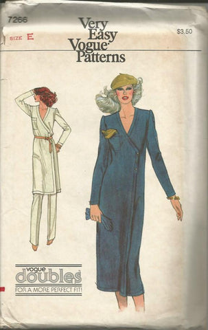 1970s V Neck Long Sleeve Wrap Dress or Tunic & Pants Easy to Sew Vogue 7266 UNCUT FF Bust 36-38 Women's Vintage Sewing Pattern
