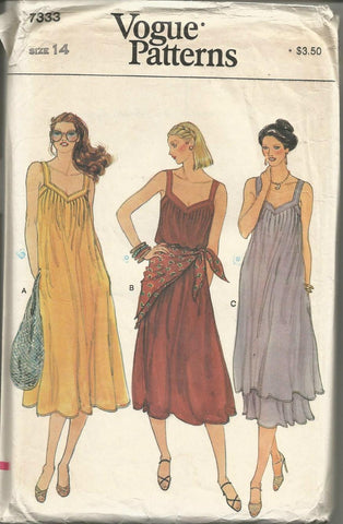 1980s V Neck Pullover Sundress or Tunic Skirt and Scarf Vogue 7333 UNCUT FF Size 14 Bust 36 Women's Vintage Sewing Pattern
