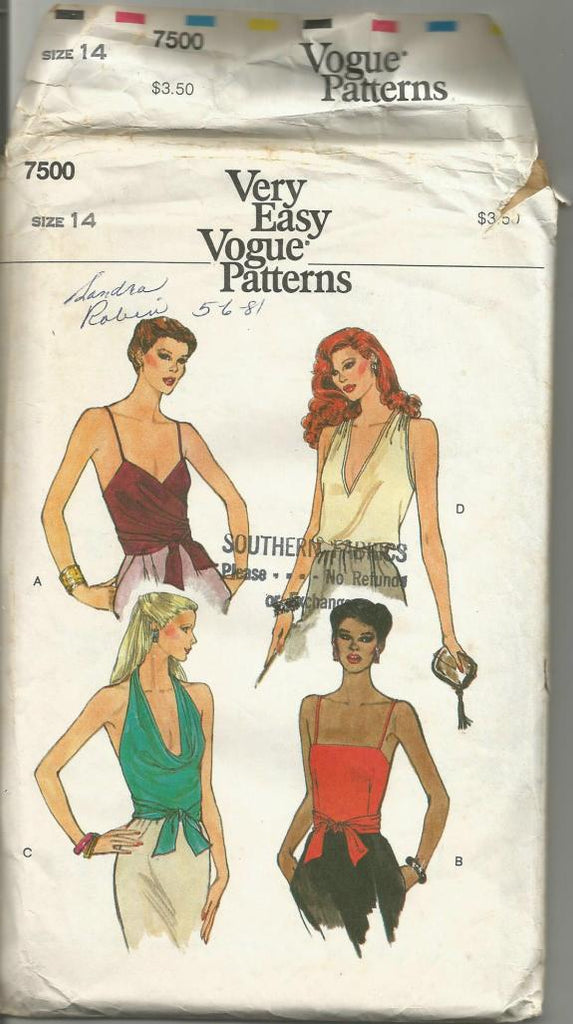 1980s Sexy Summer Tops V or Square Neckline Wrap and Tie Top Easy to Sew Vogue 7500 Only One Top Cut Size 14 Bust 36 Women's Vintage Sewing Pattern