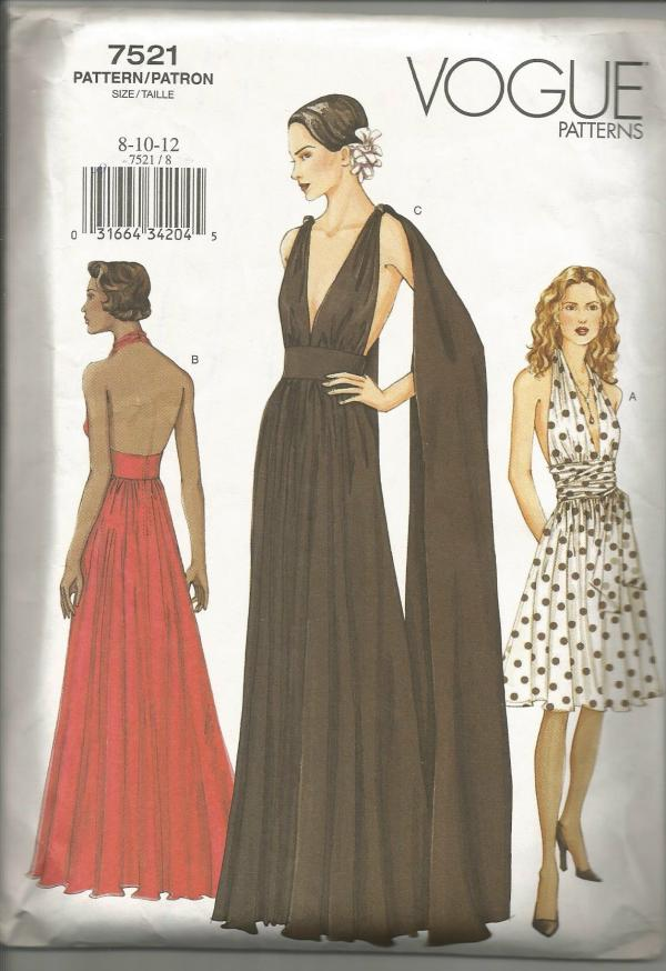 Sexy Plunging Neckline Halter Gown Shoulder Drape Evening Cocktail Vogue 7521 Uncut FF Size 8-10-12 Bust 31.5 - 34 Women's Sewing Pattern