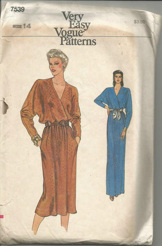 1980s V Neck Lapped Bodice Day or Evening Dress Dolman Sleeves Easy to Sew Vogue 7539 Size 14 Bust 36 Women's Vintage Sewing Pattern