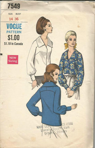 1960s Long Sleeve Blouse Barrel Cuffs V Neckline Pointed Collar Vogue 7549 C/C Bust 36 Women's Vintage Sewing Pattern
