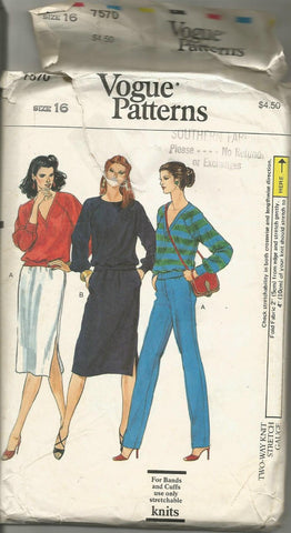 1980s Pullover Top Straight Skirt & Tapered Pants Vogue 7570 Partially Cut C/C Size 16 Bust 38 Women's Vintage Sewing Pattern