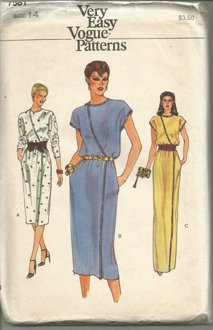 1980s Wrap Dress Day/Evening Easy to Sew Vogue 7581 FF Bust 36