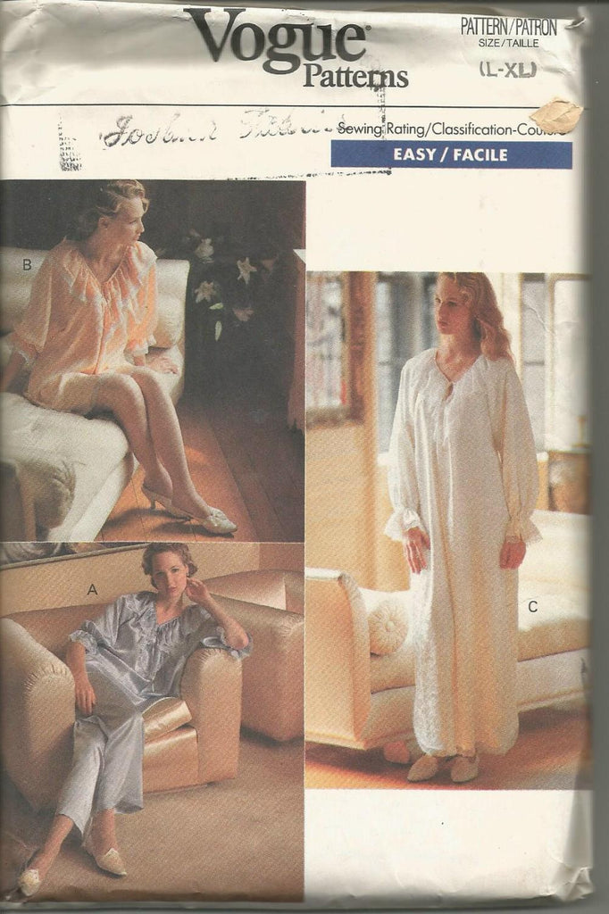 1980s Nightgown Pajamas Top Wide Leg Pants V Neck Easy to Sew Plus Sizes Vogue 7627 UNCUT FF Sizes L-XL Bust 38-46 UNCUT FF Women's Vintage Sewing Pattern