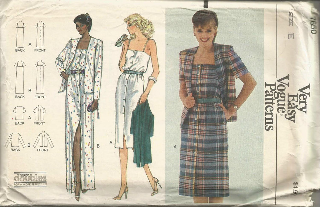 1980s Sundress & Jacket Evening or Day Length Easy to Sew Vogue 7650 UNCUT FF Size 14/16 Bust 36/38 Women's Vintage Sewing Pattern