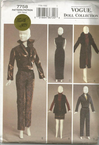 Urban Chic Doll Clothes for 11.5 Inch Fashion Dolls such as Barbie Five Metro Chic Outfits Vogue 7758 UNCUT FF Doll Clothes Sewing Pattern